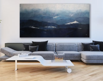Large Abstract Ocean Scape / Large Blue and Grey Painting / Blue Art / Abstract Art / Blue Painting XXL