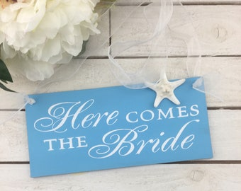 Here Comes The Bride Sign-Beach Sign-Bride Wedding Sign-12' x 5.5' Sign