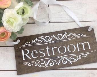 """Restroom Sign-Rustic Restroom Sign-Wood Restroom Sign-12""""x 5.5""""Sign- Wedding Rustic Wood Sign"""