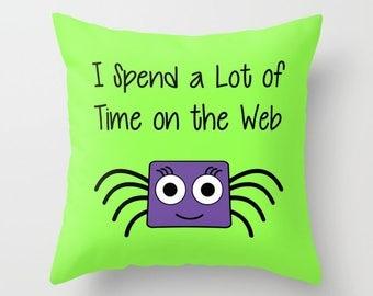 Spider Pillow, Pillow Cover, Pillow Case, Halloween Pillow, Funny Pillow, Green Pillow, Cute Pillow, LOL Pillow, Humor Pillow, Pillowcase