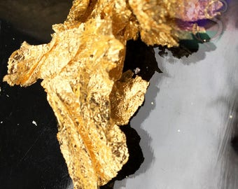 Del Oro Foil Leaf Flakes, Gold Tone Colors, Gold Foil Leaf Pieces, Resin Foil, Paper Craft,  Nail Art Foill