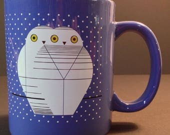 "Charley Harper ""Twowls"" blue mug with white owls"