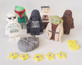 star wars  full set cake toppers personalised edible cake decoration birthday