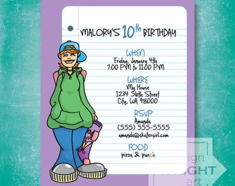 CUSTOM Skater Girl Invitation, PDF & JPG