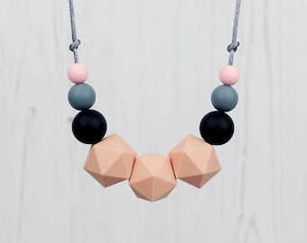 Teething Necklace, Mum Jewellery, Nursing Necklace, Teething Jewellery, Geometric Necklace, Silicone Beads, Mama Jewellery, New Mum Gift