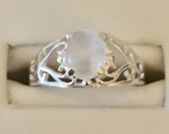 FREE SHIPPING USA Only!! Sterling Silver Moonstone Ring