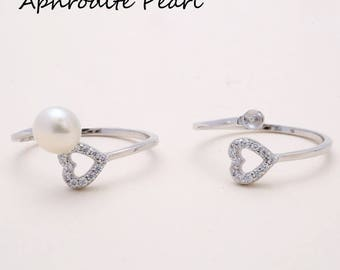 925 silver and zircon ring mounting, adjustable ring setting, heart and arrow pattern, jewelry DIY