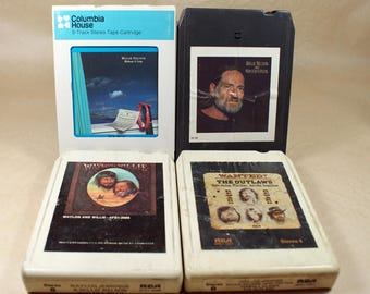Willie Nelson, Waylon Jennings & various artists four 8-Track Cartridge Tapes, 1980s Country music artists Kris Kristofferson, preowned