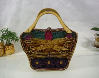 Handwoven straw handbag/picnic tote/market bag/beach bag/straw tote/picnic basket/boho bag/gift/summer/casual boho tote/vintage