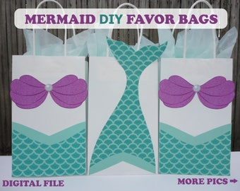 Mermaid Favor Bags/ Mermaid Party/ Mermaid Birthday/ Mermaid Party Supplies/ Mermaid Party Favor Bags/ Gift/ Candy/ Goodie/ Bags/ Bag/ Boxes