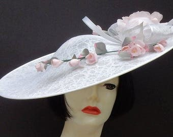 White Lace Large Fascinator-Pink Flowers