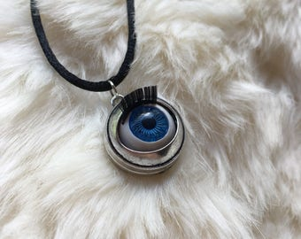 SALE Creepy Blinking Doll Eye Choker or Necklace
