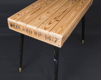 Rustic Reclaimed wood 100% Recycled Materials Side Table