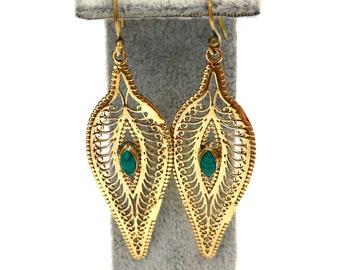 Brass turquoise earrings, gold brass earrings, leaf earrings, indian drop earrings, modern earrings, indian jewellery, jewelry