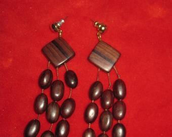 Vintage unique wooden bead long dangle Piered Earrings
