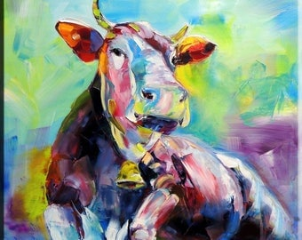 Large print Wall Art, Art Print on Canvas, Cow Painting , Colorful Painting, Canvas Art, Interior Art, Living Room Decor