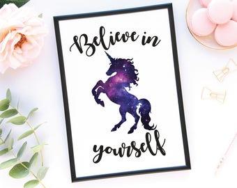 Believe In Yourself Unicorn Wall Print, Unicorn Wall Art, Galaxy Print, Printed Wall Art, Galaxy Unicorn Wall Art