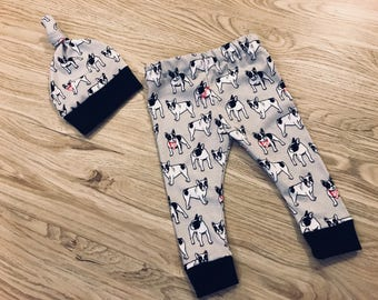 Baby Boston Terrier Frenchie Legging and Hat Set- gray, black, baby leggings, knot hat, newborn, outfit, coming home outfit