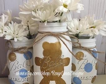 Bear themed baby shower mason jar set, nursery room decor, birthday party centerpiece
