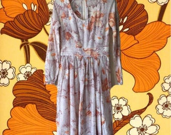 Vintage 1970s Sparkly Metallic Floral Poppy Sheer Dress with Long Sleeves Small