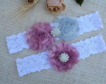 Garter Grey Flower, Glitter Garter Set, Grey Pink Garter, Silver Garter Set, Garter Grey, Garter For Brides, Keep Garter, Grey Bridal Garter