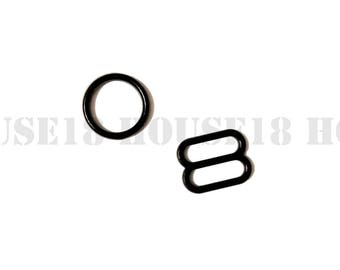 "12mm 0.47"" Plastic Ring and Slider Bra Strap Adjuster Bra Making Supplies 