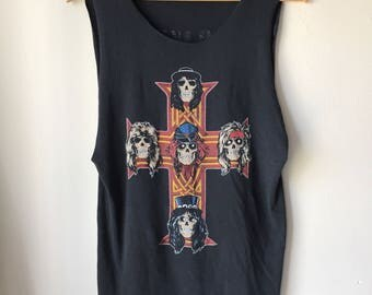 "1987 Guns N Roses ""Appetite"" Vintage Concert Tour Band Rock Shirt, 80s, 50/50"