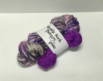 Electric Sock Therapy - Guns 'n' Violets - Hand Dyed Yarn - SW Merino Wool/Nylon (80/20) Fingering/Sock Weight