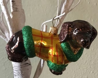 Dachshund in Sweater Christmas Ornament