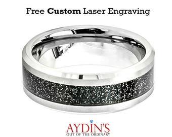 Shiny Beveled Edge with Black Sandstone Carbon Fiber Inlay 8mm Tungsten Carbide Wedding Ring