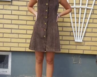 Vintage Swedish Woman Dress  Manchester fabric Brass Buttons Retro 70s