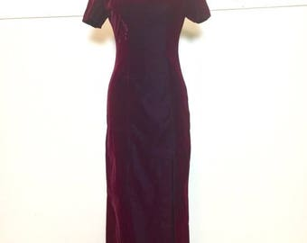 SALE 90s Red Velvet Maxi Slit Dress