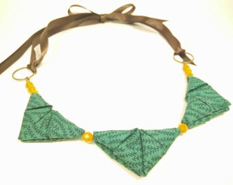 ORIGAMI TRIANGLE NECKLACE - Green with Rosemary Plant Print Fabric and Mustard Yellow Beads Ribbon Tie Necklace