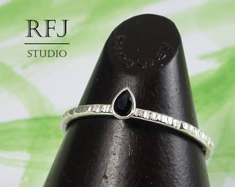 Black Lab Teardrop Diamond Textured Silver Ring, Stackable Pear Cut 3x2 mm Black Cubic Zirconia Minimal Sterling Ring Stacking Black CZ Ring