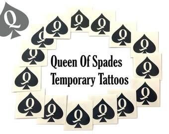 Queen Of Spades QOS Temporary Tattoo Fetish Thick BBC Hotwife cuckold cuck slut Swinger Tattoos