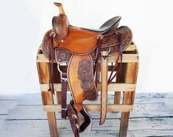 Classic Handmade Western Rodeo Show Horse Trail Tooled leather Saddle Made To Order