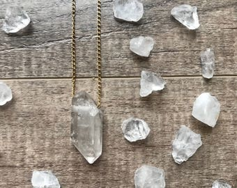 Clear Quartz Crystal Necklace, 24k Gold Plated