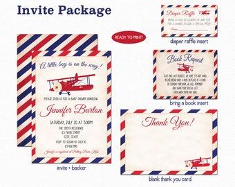Airplane Baby Shower Invitation, Plane Baby Shower Invitation, Navy Blue and Red, Baby Shower Invite, Digital, Printable, 034