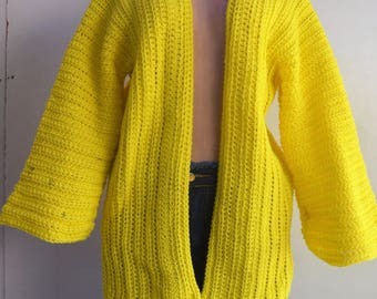Yellow, crochet kimono Cardigan.