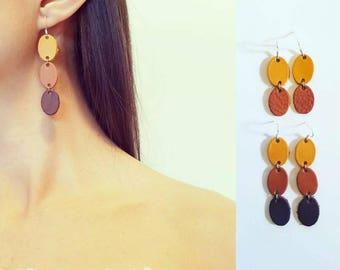 Leather sterling silver earrings