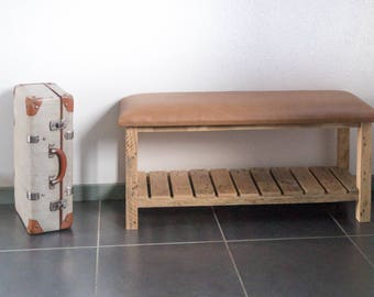 Wooden top brown leather bench