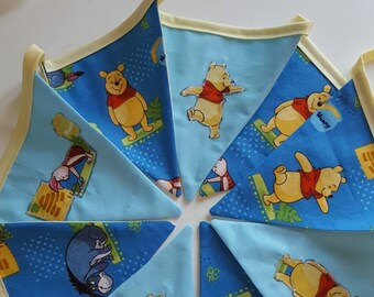 Winnie the pooh bunting - nursery bunting - child's bedroom bunting -  Handmade unique double sided bunting - Disney character bunting