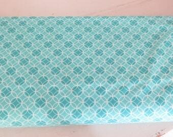 1 yard Nancy Halvorsen Bree dot circle, aqua quilt shop quality cotton fabric, Benartex, Art to Heart