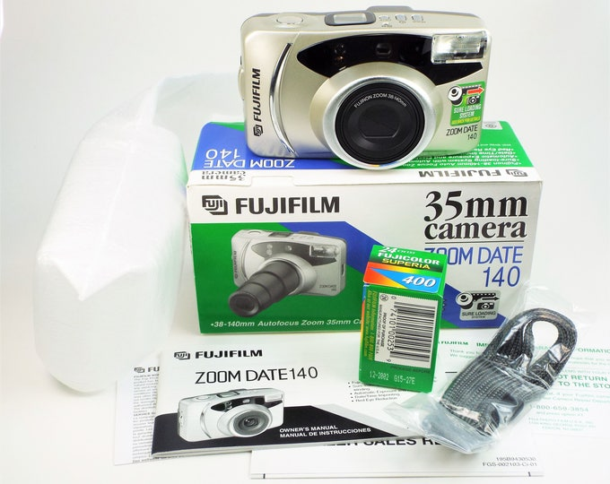 Fujifilm Zoom Date 140 35mm Compact Point & Shoot Film Camera - New in the Box - 38-140mm Power Zoom Fujinon Lens - Fujicolor Film Included!