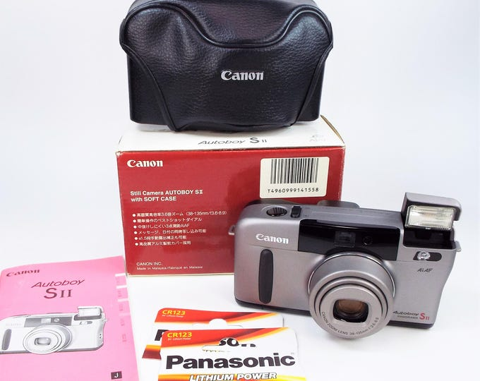 Mint in Box Canon Autoboy S II Panorama 35mm Film Camera - 38-135mm Power Zoom Lens - Canon Case, Strap, Inst, New Batteries -  100% Tested!