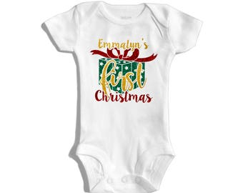 My first Christmas - Personalized Christmas outfit - Customized Christmas outfit - My 1st Christmas - Baby's first christmas - Christmas '16