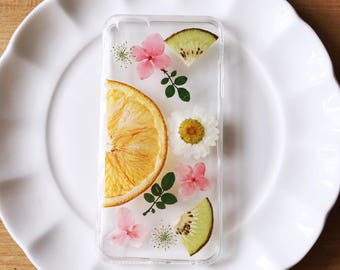 Real Orange and Kiwi Fruit Bumper Phone Case with dust pluc - i Phone / Samsung / HTC / Oppo/ Huawei