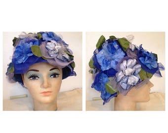 On Sale Fabulous Vintage Blue Floral Hat