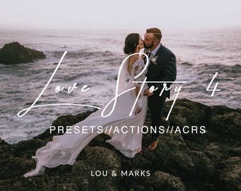Love Story 4 for Lightroom & Photoshop Actions, Presets, ACRs for Bright Portrait and Modern Moody Wedding Edits in Lightroom Photoshop