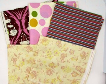 Four Cotton quilt prints , pink brown  gold, 4 yards different cotton fabric remnants in prints, circles & stripes, sewing craft bundle